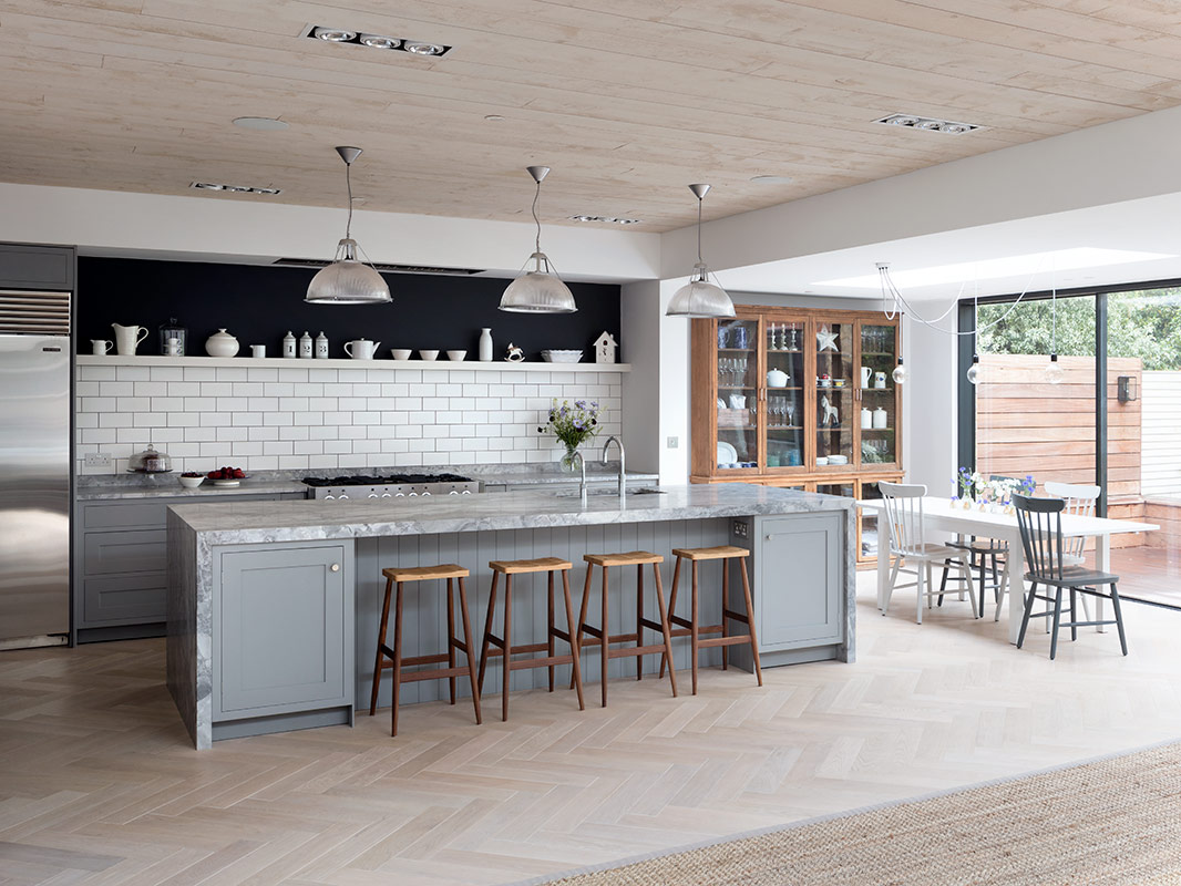 Designer kitchen with bespoke island and marble work surfaces
